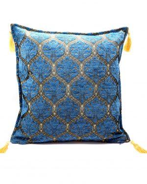 Dekokissen aus Chenille – blau